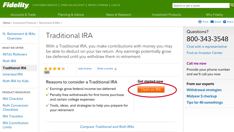 Backdoor Roth IRA Guide - Fidelity - Open Traditional IRA
